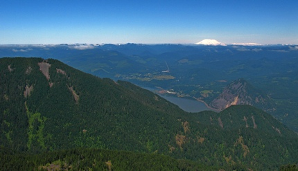 Looking northwest across the Columbia River Gorge toward Mt St Helens from the Mt Defiance trail