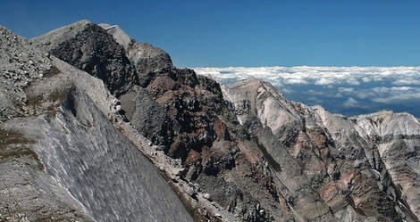 The summit of Mt St Helens in the Mt St Helens National Volcanic Area