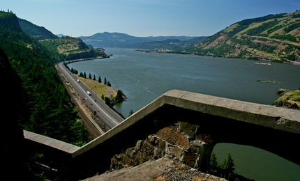 A view looking out from the Mosier Tunnel