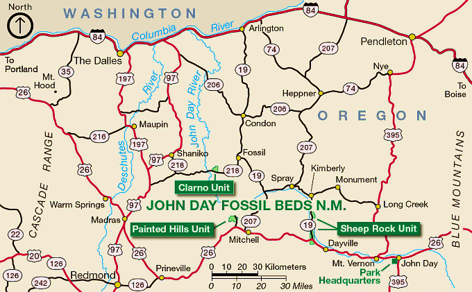 Map Of John Day Oregon Northwest Hiker presents Hiking in the John Day Fossil Beds