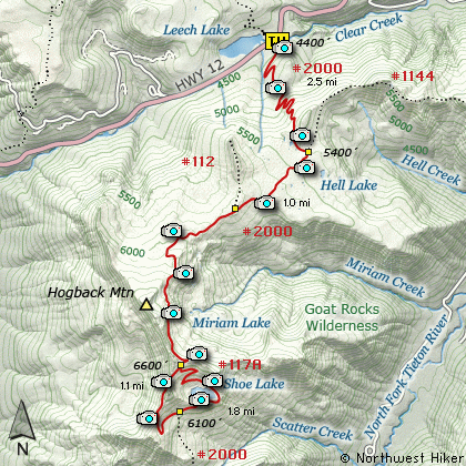 Shoe Lake, PCT, White Pass, Goat Rocks Wilderness Hike