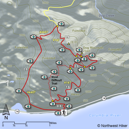 Dog Mountain Hike map