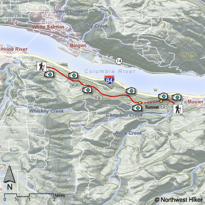 Mosier Tunnel Hike map
