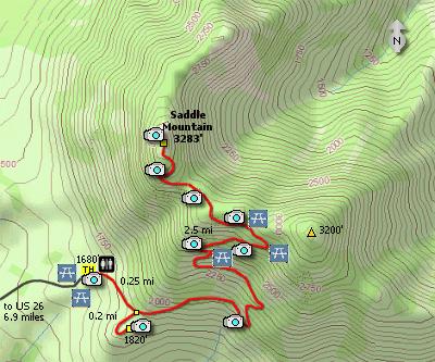 Saddle Mountain State Park Hikes - Oregon hiking trails map